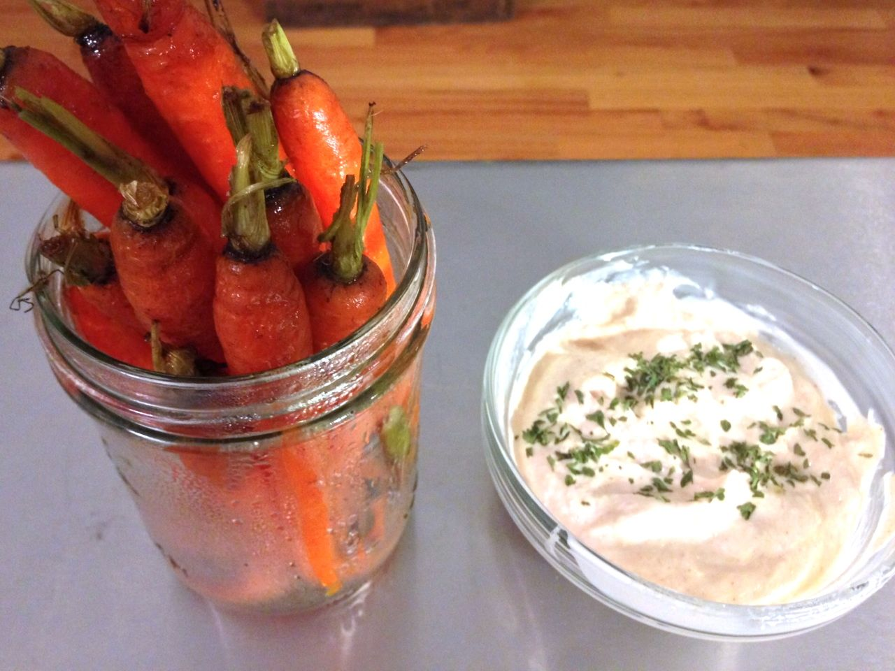 carrots in jar, dip