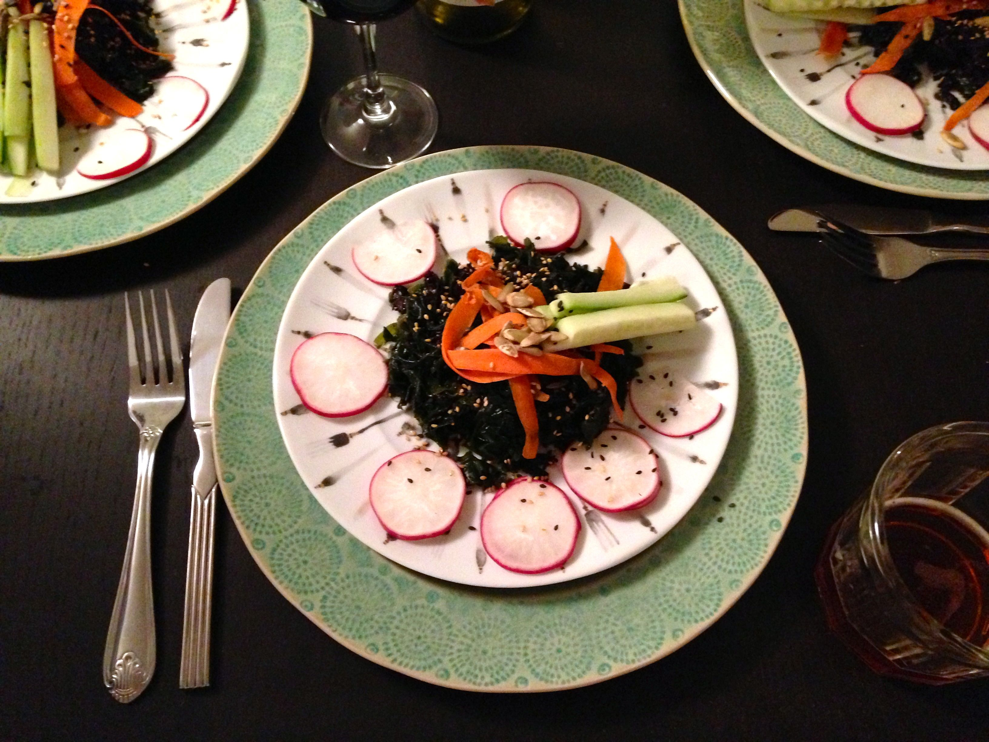 seaweed salad on table