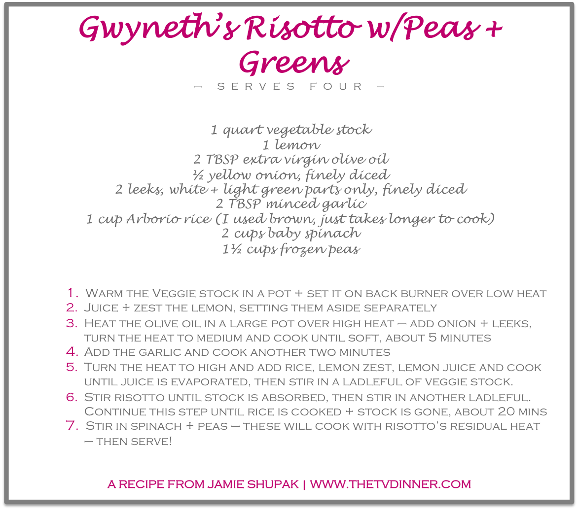 RECIPE gwyneth risotto